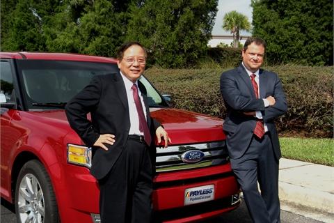 """Fred Lin, CEO (left) and Rick Stevens, president, have steered Payless Car Rental through acquisitions, overseas growth, airport expansion and into a """"preferred"""" online presence."""