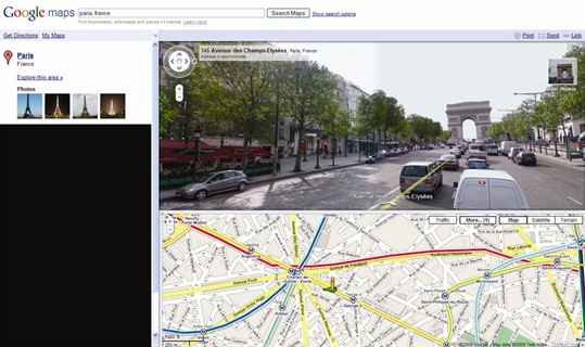 Google Maps' now-famous Street View can be incorporated into driving directions.