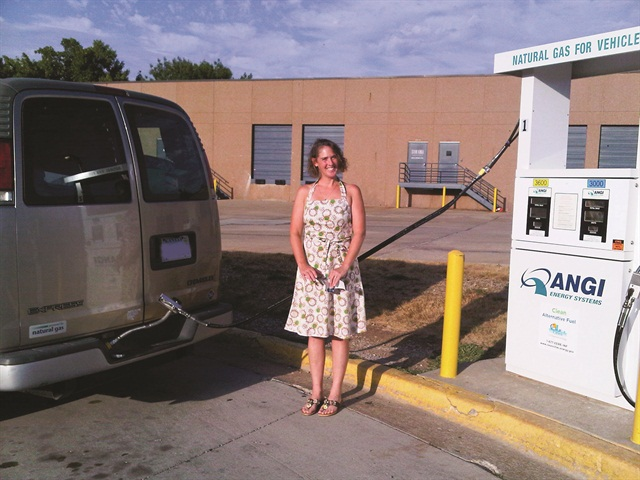 Danya Butter and her husband Joseph have five CNG vehicles to service her real estate business in Kansas and Missouri, and to help defray the cost of his commute. While the Butters have a home-fueling system, they say it's easier and quicker to fill up at their local public station. They pay about $1.25 gas-gallon equivalent (GGE) at home and $1.69 at the public station.