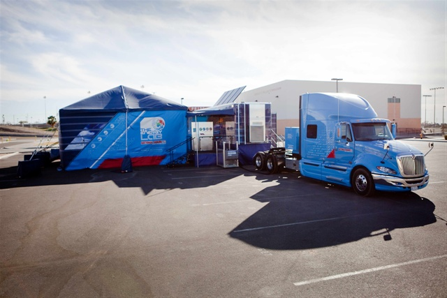 These Transformer-like vehicles are part of the RedPeg fleet, which also includes Mercedes-Benz Sprinter vans and box trucks. Each vehicle carries a telematics system from its fleet management provider, PHH. The telematics allow the company to control idle time and oversee vehicle location.