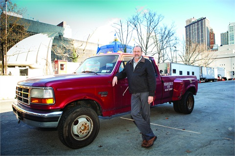 Photo by Jason RheeThe Big Apple Circus' Tom Larson manages a fleet that includes 10 Ford F-350 pickups.