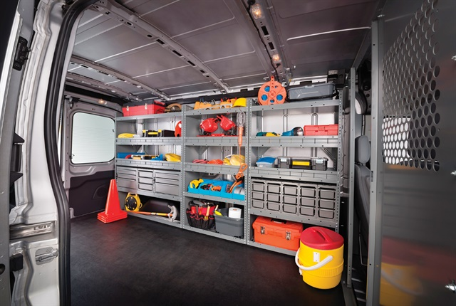 Full rack and bin systems can keep vans organized and tools and materials safely in place. With various sizes and configurations, there are systems available for all van sizes. Photo: DECKED