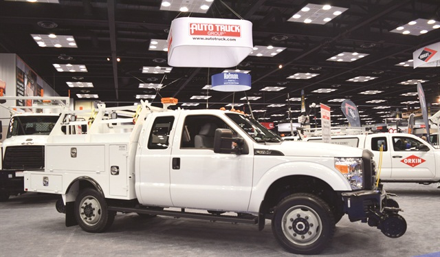 "Shown at the 2016 Work Truck Show, this aluminum ""signal body"" on a Ford F-250 from Auto Truck Group is 30% to 40% lighter than a comparable steel body. The lighter weight keeps the vehicle under the 10,000-lbs. threshold for Department of Transportation regulations, an increasingly important consideration for fleets, says Bill Carey, manager of fleet sales. Photo courtesy of Auto Truck Group."