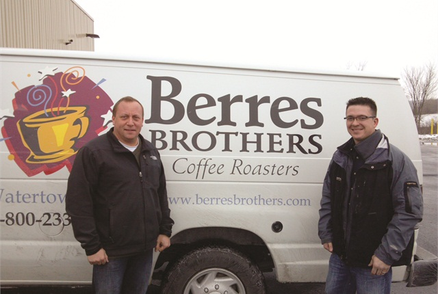 From left to right, Peter Berres, owner of Berres Brothers Coffee Roasters, and Josh Budworth from Charter Fuels.