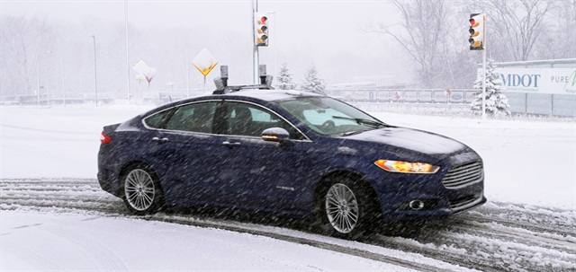 In January, Ford conducted winter-weather autonomous driving tests with a specially equipped mid-size Fusion sedan. For the 2016-MY, Ford added the SE Driver Assist package, a suite of active safety features, specifically for fleet customers. The move was based on feedback from its advisory board members, according to Fritz Ahadi, general manager, Commercial and Government Sales Operations at Ford Motor Co. Photo courtesy of Ford.