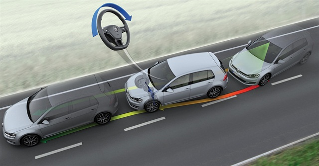 """Volkswagen is one of several OEMs that offers a lane-keeping system designed to alert drivers to unintended departures and autonomously steer the vehicle back to safety. VW's """"Driver Assistance Package"""" also includes forward-collision avoidance, blind-spot monitoring, rear-cross-traffic alerts and automatic high beams.Photo courtesy of Volkswagen of America Inc."""