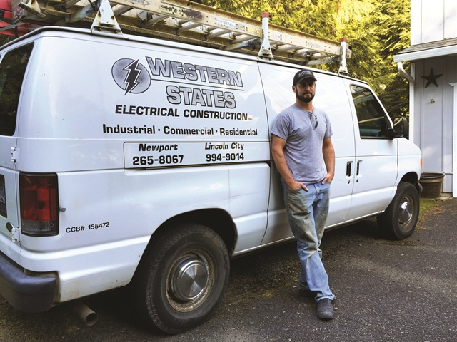 Electrician Eric Sherman's Ford E-250 cargo van contains shelves and bins for better organization of tools.