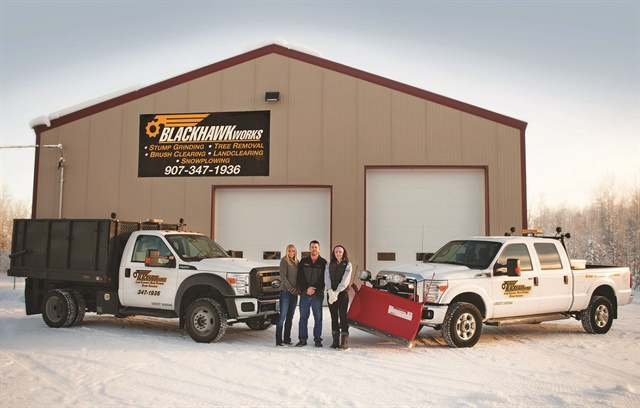 To continue working through the Alaskan winter, BlackHawk Works, a tree removal company, adds snow plows to three of its trucks. Additionally, BlackHawk Works hauls a skid steer with the F-550 and puts a sander in the F-450's bed.