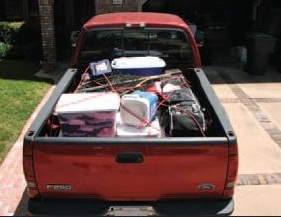 Bungee cords are not recommended to tie down objects in the back of a truck; nor is rope, which is generally not rated for weight. Photo courtesy of Cargo Transportation Safety Organization.