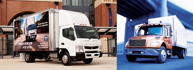 The cabover (left) is gaining popularity in medium-duty truck fleets; however, the conventional truck (right) is still seeing an advantage in terms of engine power options, driver comfort and acquisition costs.