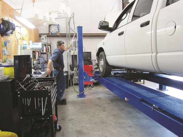 The in-house maintenance facility at Dallas Gutter King alleviates owner Gary Kulp from having to pay the overhead of an outside mechanic's shop, which could run $100 per hour or more.