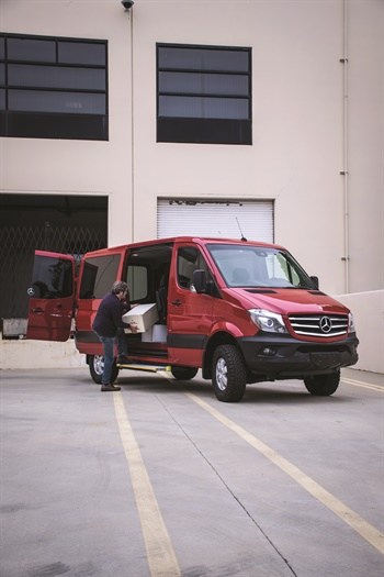 A suite of safety and driver-assistance technologies is available on the 2016 Mercedes-Benz Sprinter, including systems to monitor blind spots, stay in lanes, mitigate crosswind interference, protect against rollovers, and prevent rear-end collisions. One such feature, Collision Prevention Assist, uses radar sensors that measure vehicle distance and speed to calculate a safe distance and issue visual and audio warnings if a crash is deemed imminent.Photo by Vincent Taroc.