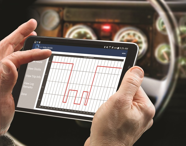 ELD compliance solutions require an in-cab device that interacts with the driver. The device could be a propretary display or tablet preloaded with supplier's software, an off-the-shelf tablet with software downloaded from the cloud, or an app on a smartphone. Photo courtesy of JJ Keller.