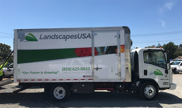 Currently, Landscapes USA's fleet has added 24 Isuzu NPR cabovers — each with a customized truck body designed by Morgan Corp.