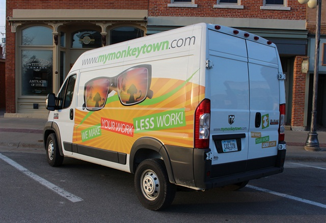 The Ram ProMaster cargo van provides more space for vehicle graphics, logos, and contact information.