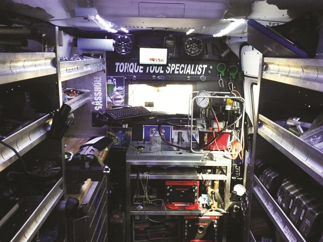 In addition to a workbench, shelving and drawers, Sabol outfitted the van with LED lights, 110v outlets to power tools and solar panels for a battery boost.