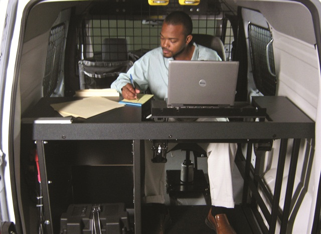 Leggett & Platt's engineers created a complete mobile office upfit for an insurance provider. Jenn Voelker, director of product development and engineering, says the company has seen an influx of new trades with increasingly specialized needs. Photo courtesy of Leggett & Platt.