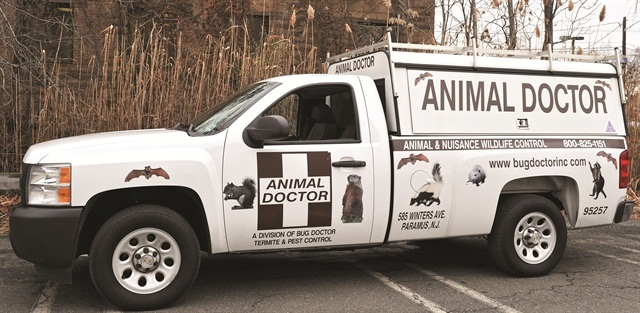 Stuart Aust, owner of Bug Doctor, added a new wrap to his Animal Doctor truck (above picture). The new wrap features animals in larger print, paw prints, and a bright green color. Photos courtesy of Stuart Aust.