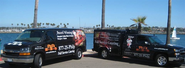 Phil's BBQ's delivery fleet features vans and trucks with customized bodies.