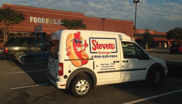 One of Stevens Sausage's propane-powered Ford Transit Connect vans.The vans can get over 21 miles per gallon on propane autogas.