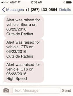 Geofence, speeding, and other alerts were sent to AF Managing Editor Chris Wolski's iPhone, giving him updates on the test vehicles day and night.