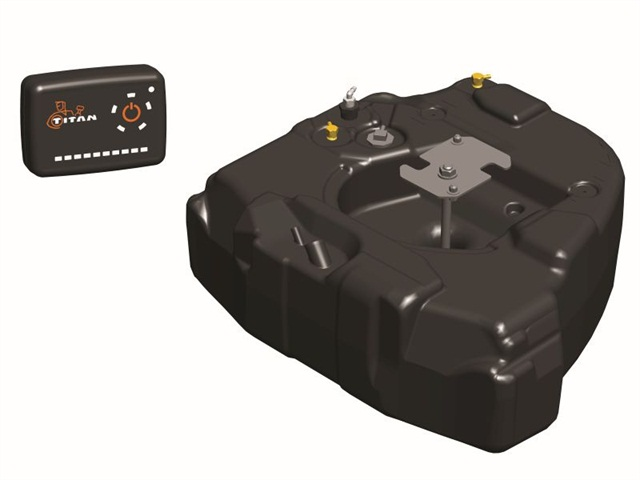 Titan's Spare Tire Fuel System features a one-size-fits-all, 30-gallon fuel tank and a fuel transfer control unit.