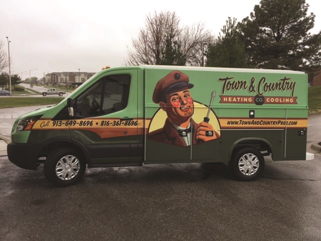 Town & Country Heating & Cooling Co.'s vehicle wraps were inspired by some old furnace logos from the 1940s and 1950s. Owner Owen Faulkner liked the idea of creating a logo that looked like his company had been around for a long time. Photo courtesy of Town & Country.