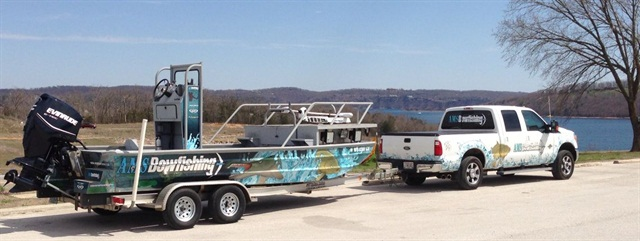AMS Bowfishing uses diesel F-250 trucks to haul its fishing boats.