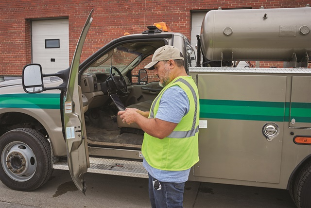 Under the new ELD rules, inspection officers will ask to see the ELD screen, which must be made available to the officer without getting into the truck. If requested, the driver must be ready to transfer logbook data electronically on the spot. Regarding potential compliance violations, the rules stay the same. Yet the switch to a digital, geosynchronous process allows an officer to more easily ascertain logbook anomalies. Photo courtesy of J.J. Keller & Associates.