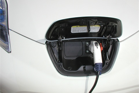 """The Leaf's onboard charger plugs into a regular 110/120V household outlet. This Level 1 """"trickle charge,"""" however, will take close to 20 hours from a depleted battery to full charge. The Level 2 home charging dock, which works off of a 220/240v line, charges the car to 80 percent in about seven hours. Commercial quick-charge (480v) stations take less than 30 minutes, though very few are online and available."""