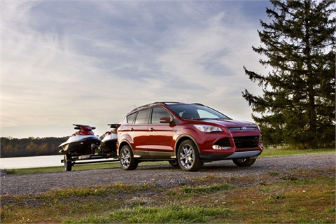 The all-new 2013 Ford Escape enables the vehicle to tow 3,500 lbs. - best in class among small SUVs with turbocharged four-cylinder engines.