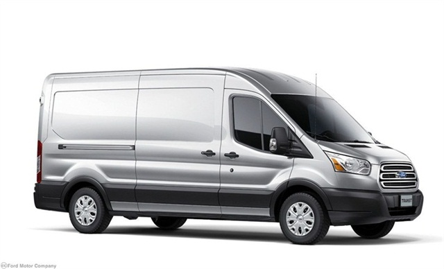 The 2014-MY Ford Transit full-size van will offer gasoline and diesel engine options.