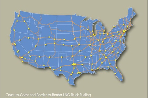 Coast-to-Coast and Border-to-Border LNG truck fueling.
