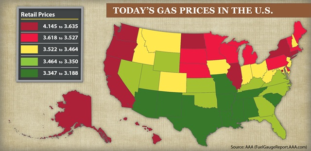 This chart from AAA shows the range of gasoline prices on a regional basis.