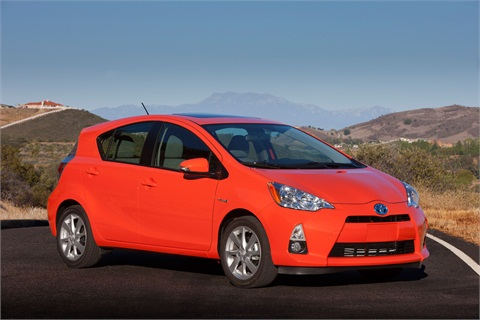 The Prius c gets 53 mpg city, 46 highway, for a combined EPA-estimated mpg rating of 50 mpg.