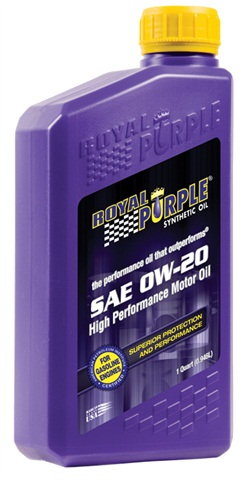 Photo courtesy of Royal Purple Inc. Royal Purple's 0W-20 synthetic oil optimizes engine performance, increases fuel efficiency and provides superior wear protection and corrosion resistance over mineral based competitors.