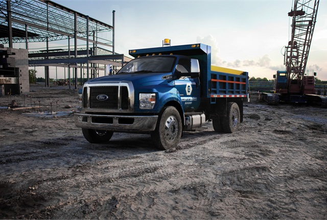 The 2016 Ford F-650 with a dump body configuration.