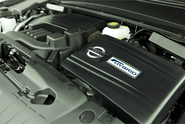 The hybrid system in the 2014 Pathfinder Hybrid is  rated at 250 net hp and 243 lb. ft. of torque. Photo courtesy Nissan.