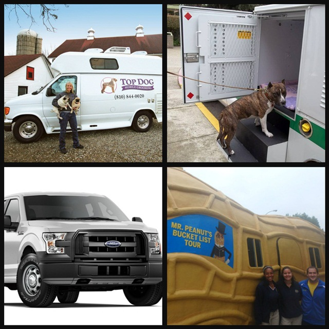 (Clockwise l. to r.) A groomer runs a mobile salon from her customized cargo van; an animal rescue fleet uses custom-built pickups; the aluminum F-150; Kraft Foods' Nutmobile with three Peanutters.