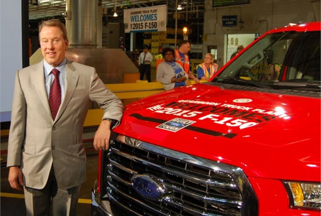 Photo of Bill Ford with 2015 F-150 by Chris Wolski.