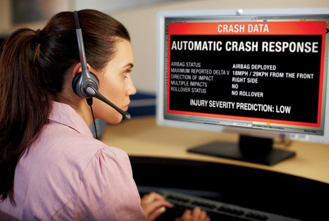 "OnStar's ""injury severity prediction"" (ISP) service analyzes crash data, such as force of impact, to determine the probability of severe injury to the vehicle occupants. OnStar advisors then relay the ISP rating to 9-1-1 centers. Photo courtesy of GM."