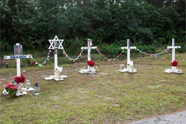 A roadside memorial after a fatal collision. Photo: AAA Foundation for Traffic Safety.