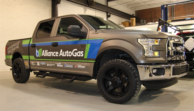 The Ford F-150 was converted to run on propane autogas at the Work Truck Show in Indianapolis. Photo courtesy of Alliance AutoGas
