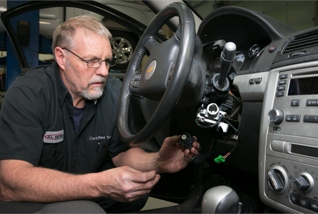 A technician replaces a faulty ignition switch on a Chevrolet Cobalt. Photo courtesy of General Motors.