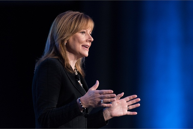 General Motors CEO Mary Barra addresses the Intelligent Transport Systems World Congress on Sept. 7 in Detroit. Photo: Steve Fecht/GM.