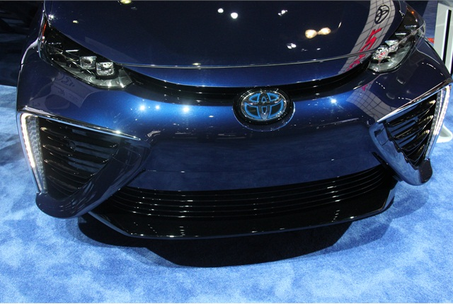 The Toyota Mirai uses large air intakes that blend oxygen with hydrogen fuel to power the vehicle. Photo by Paul Clinton.