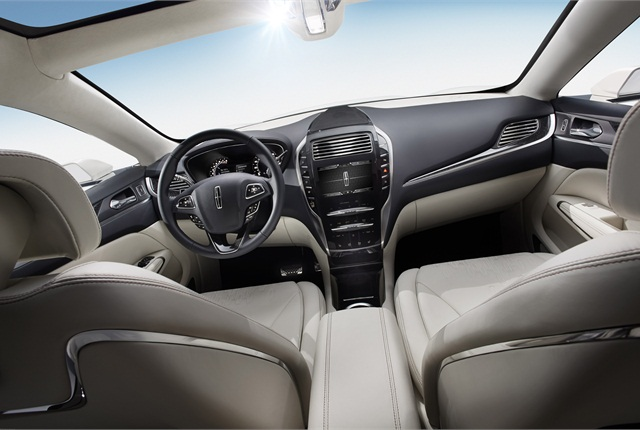 Like the MKZ, the MKC Concept features a push-button gear shift selector.