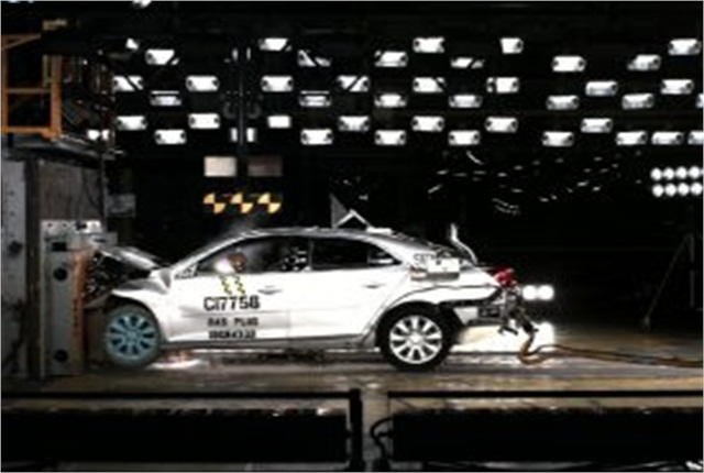 The 2014 Malibu undergoes a NHTSA crash test. Photo copyright: General Motors.