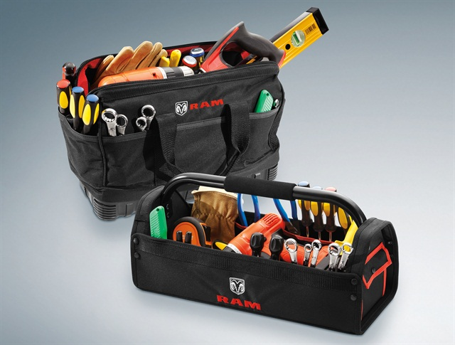 A Ram Tool Bag and Caddy is among the Mopar items available to customize the all-new 2015 Ram ProMaster City.