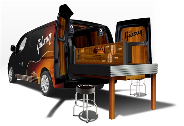 NV200 Compact Cargo van upfitted as the Gibson Mobile Repair & Restoration Van.